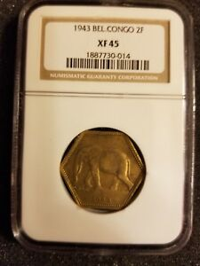 1943 BEL. CONGO 2F NGC XF 45 GRADED COIN