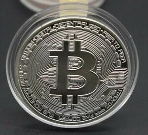 BITCOIN COMMEMORATIVE ROUND COLLECTORS COIN BIT COIN SILVER COLOR A1