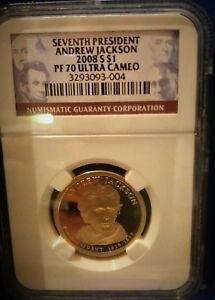 2008 S $1 ANDREW JACKSON PRESIDENTIAL DOLLAR GRADED BY NGC PROOF 70 ULTRA CAMEO