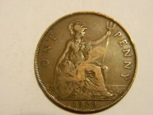 1929 GREAT BRITAIN ONE PENNY DAMAGED       LOT 4450
