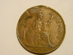 1944 GREAT BRITAIN ONE PENNY DAMAGED       LOT 3476