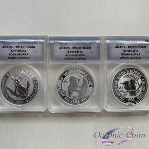 Click now to see the BUY IT NOW Price! LOT OF 3 1992 1993 1994 PERTH MINT AUSTRALIA SILVER KOOKABURRA ANACS MS 70 DCAM