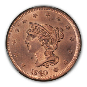 Click now to see the BUY IT NOW Price! 1840 1C LARGE DATE BRAIDED HAIR CENT PCGS MS65 RD