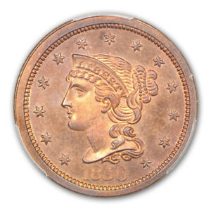 Click now to see the BUY IT NOW Price! 1856 1C SLANTED 5 BRAIDED HAIR CENT PCGS PR66RB  CAC