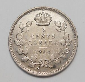 1914 FIVE CENTS SILVER F  NICE BETTER EARLY KING GEORGE V OLD CANADA HALF DIME