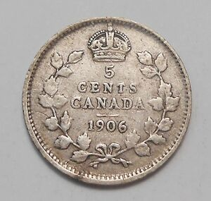 1906 FIVE CENTS SILVER VG F   NICE ORIGINAL KING EDWARD VII OLD CANADA HALF DIME