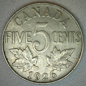 1926 N6 CANADIAN NICKEL 5 CENTS COIN FIVE CENT GEORGE V CANADA TYPE COIN VG M10