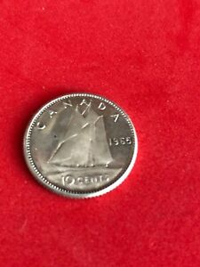 1965 CANADA CANADIAN 80  SILVER DIME 10 CENT  LUSTRE