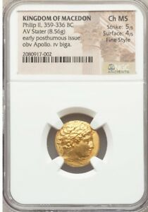 Click now to see the BUY IT NOW Price! GREEK MACEDONIAN PHILIP II  359 336 BC  GOLD STATER NGC CHOICE MS 5/5 4/5