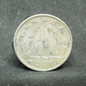 CANADA 10 CENTS 1964  SILVER COIN  989