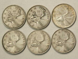 CANADA 25 CENTS 1938 1941 1943 1944 1945 1947 ML LOT OF 6 1643