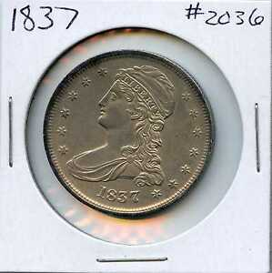 1837 50C CAPPED BUST SILVER HALF DOLLAR. ALMOST UNCIRCULATED. LOT 1729