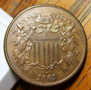 1869 TWO CENT PIECE WITH FULL