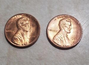 1986 P & D LINCOLN MEMORIAL CENT UNCIRCULATED BU RED PENNY