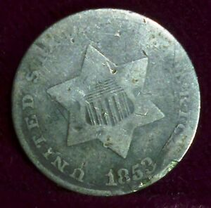 1853  USA  3 CENTS SILVER   ALSO KNOWN AS TRIMES  OR