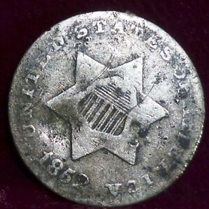1852  USA  3 CENTS SILVER   ALSO KNOWN AS TRIMES  OR