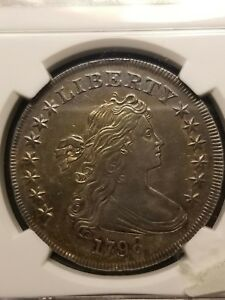 1798 POINT 9 CLOSE DATE 1$ DRAPED BUST DOLLAR NGC AU58