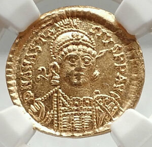 Click now to see the BUY IT NOW Price! ANASTASIUS AUTHENTIC ANCIENT 498AD BYZANTINE GOLD SOLIDUS COIN NGC CH MS I75094