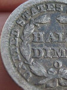 1848 O SEATED LIBERTY HALF DIME VG DETAILS