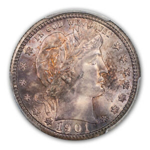 Click now to see the BUY IT NOW Price! 1901 S 25C BARBER QUARTER PCGS MS65