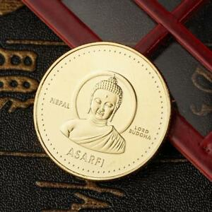 1PC GOLD PLATED COIN NEPAL BUDDHA COMMEMORATIVE COIN COLLECTION