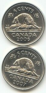 CANADA 2006 & 2007 CANADIAN FIVE CENT NICKEL 5C 5 C  EXACT  SET