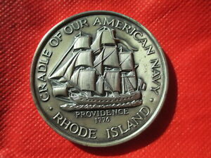 5 OUNCE 1976 RHODE ISLAND COMMEMORATIVE .999 PURE SILVER  MEDAL   US NAVY