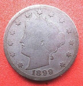 US  NICKEL FIVE CENT COIN..LIBERTY HEAD..FULL CLEAR DATE..1899.   120 YEARS OLD