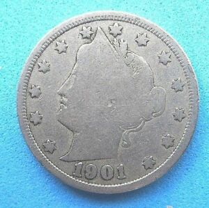 US  NICKEL FIVE CENT COIN..LIBERTY HEAD..FULL CLEAR DATE..1901. 118 YEARS OLD