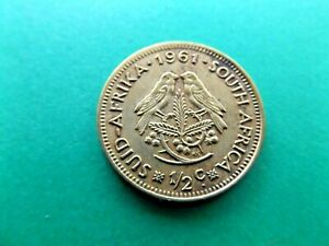 SOUTH AFRICA 1961 LARGE HALF   1/2   CENT