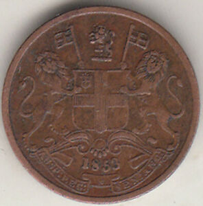 EAST INDIA COMPANY 1/2 PICE 1853  NR.ABOUT UNC COPPER COIN EX.