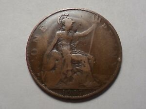1917 NICE LARGE ONE PENNY GREAT BRITAIN COPPER MINTAGE 107 905 000