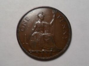 1938 NICE GREAT BRITAIN BRONZE ONE PENNY MINTAGE 121 560 000
