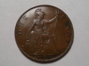 1921 NICE GREAT BRITAIN BRONZE ONE PENNY MINTAGE 129 717 999