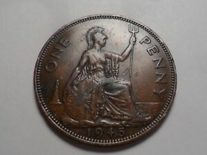 1945 NICE GREAT BRITAIN BRONZE ONE PENNY MINTAGE 79 531 000