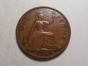1940 NICE GREAT BRITAIN BRONZE ONE PENNY MINTAGE 42 284 000
