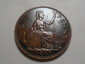1937 NICE LARGE ONE PENNY GREAT BRITAIN COPPER MINTAGE 88 896 000