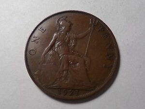 1921 NICE LARGE ONE PENNY GREAT BRITAIN COPPER MINTAGE 129 717 999