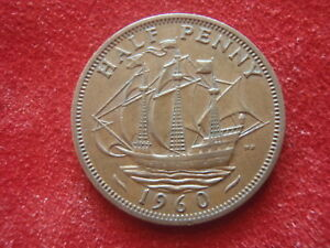 BRITISH HALF PENNY   1960      GOOD FOR A STARTER SET   LOOK