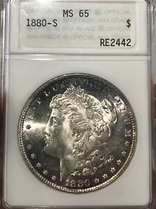 1880S MORGAN SILVER DOLLAR ANACS MS65 OLD ANA HOLDER TONED