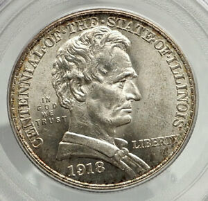 Click now to see the BUY IT NOW Price! 1918 ABRAHAM LINCOLN ILLINOIS SILVER COMMEMORATIVE HALF DOLLAR COIN PCGS I76440