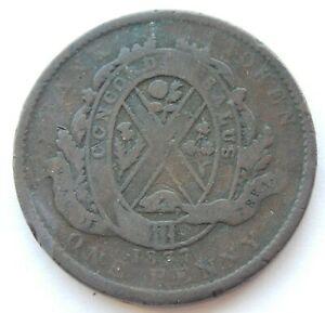 1837 PROVINCE OF CANADA ONE PENNY DEUX SOL