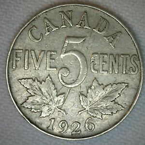 1926 N6 CANADIAN NICKEL 5 CENTS COIN FIVE CENT GEORGE V CANADA TYPE COIN VG M14