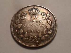 1916 NICE CANADA 92.5  SILVER 10 CENT MINTAGE 4 218 114