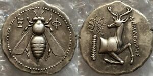 ANCIENT GREEK EPHESUS BEE DEER AND DATE PALM TETRADRACHM COIN
