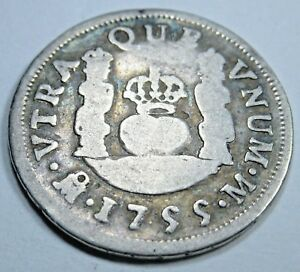 1755 SPANISH SILVER 1 REAL PIECE OF 8 REALES US COLONIAL PIRATE TREASURE COIN
