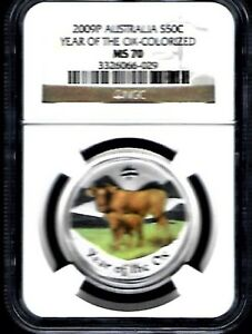 2009 P .50 C  .9999 PURE SILVER OX COLORIZE GRADED BY NGC MS 70 FROM AUSTRALI