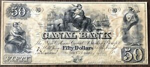 1800'S $50 CANAL BANK OF NEW ORLEANS OBSOLETE NOTE