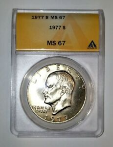 Click now to see the BUY IT NOW Price! 1977 EISENHOWER IKE DOLLAR ANACS MS67  SUPERB GEM 6093860