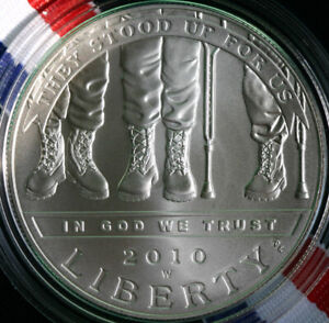 2010 W DISABLED VETERANS COMMEMORATIVE SILVER BU DOLLAR $1 US COIN ONLY